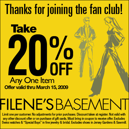 Get 20% at Filene's Basement