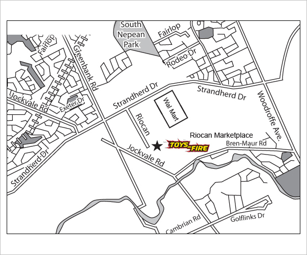 Ottawa Toys on Fire Location Map