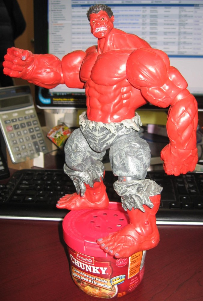 Red Hulk Figure with Chunky Soup