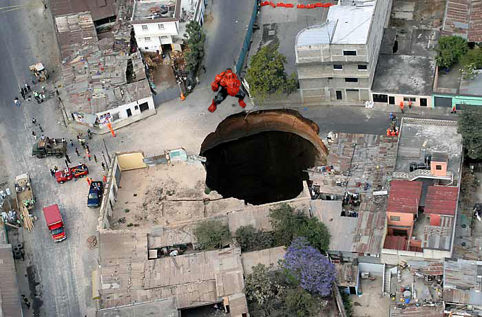 Red Hulk creates Sinkhole