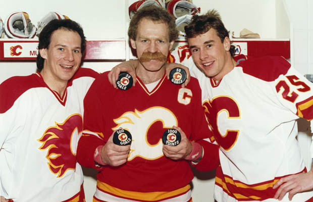 In this file photo, Joe Mullen, Lanny Mcdonald, Joe Nieuwendyk