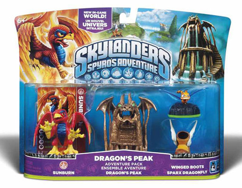 Skylanders Adventure Pack Dragons Peak Sunburn, Peak, Winged Boots Sparx Dragonfly