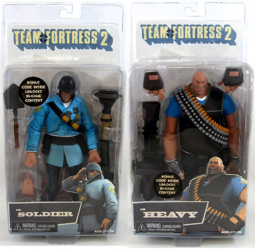 Blu Soldier and Heavy Team Fortress 2 Figures