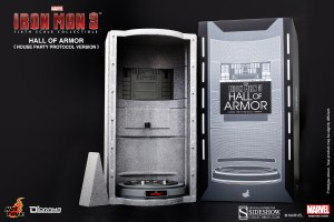 The Hall of Armor can be used to authentically store your 1/6 scale Iron Man 3 figures.